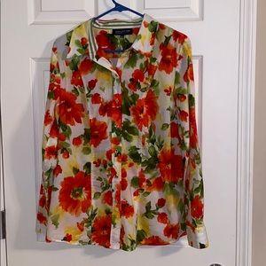 Jones New York Floral Button Down Blouse 1X